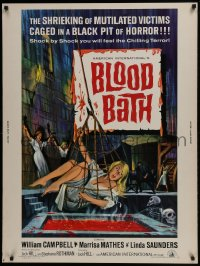 7k030 BLOOD BATH 30x40 1966 AIP, cool artwork of sexy babe being lowered into a pit of horror!