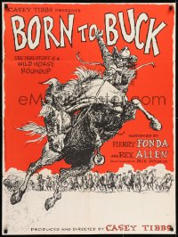 7k031 BORN TO BUCK 30x40 1968 Casey Tibbs presents & directs, cool rodeo artwork by Ed Smyth!