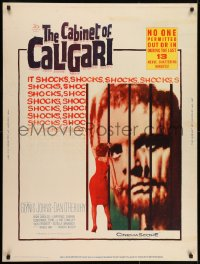 7k035 CABINET OF CALIGARI 30x40 1962 written by Robert Bloch, it shocks the unshockables!