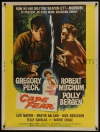 7k036 CAPE FEAR 30x40 1962 Gregory Peck, Robert Mitchum, Polly Bergen, classic film noir!