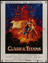 7k037 CLASH OF THE TITANS 30x40 1981 Ray Harryhausen, fantasy art by Greg & Tim Hildebrandt!