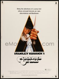 7k038 CLOCKWORK ORANGE 30x40 1972 Stanley Kubrick classic, Castle art of Malcolm McDowell!