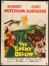 7k049 ENEMY BELOW 30x40 R1961 cool images of Robert Mitchum in the U.S. Navy!