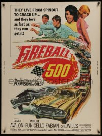 7k055 FIREBALL 500 30x40 1966 Frankie Avalon & sexy Annette Funicello, cool stock car racing art!