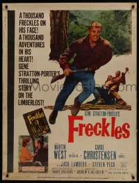 7k058 FRECKLES 30x40 1960 Martin West, from the novel by Gene Stratton-Porter!