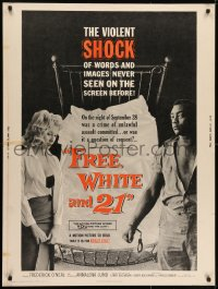 7k059 FREE, WHITE & 21 30x40 1963 interracial romance, Shock after Shock, bold beyond belief!