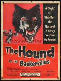7k068 HOUND OF THE BASKERVILLES 30x40 1959 Peter Cushing, great blood-dripping dog artwork!