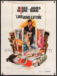 7k079 LIVE & LET DIE West Hemi 30x40 1973 McGinnis art of Moore as Bond & sexy girls on tarot cards
