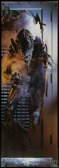 7k172 ALIENS 26x76 commercial poster 1987 huge full-length image of creature busting through door!