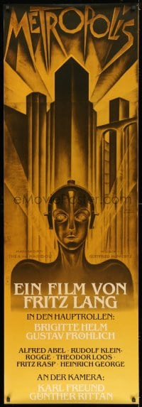 7k175 METROPOLIS 21x62 German commercial poster 1990s Brigitte Helm, The Maschinenmensch!
