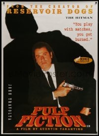 7k177 PULP FICTION 40x55 English commercial poster 1994 Tarantino, John Travolta as Vincent Vega!