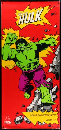 7k167 INCREDIBLE HULK 34x74 video poster 1985 Marvel, great art of him with destroyed wall!
