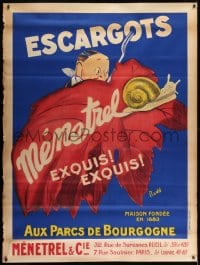7k196 ESCARGOTS MENETREL 47x63 French advertising poster 1930s art of snail hunted by man w/fork!