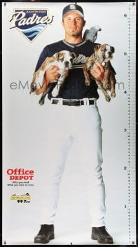 7k192 SAN DIEGO PADRES 42x76 special poster 2000s full-length baseball player holding puppies!