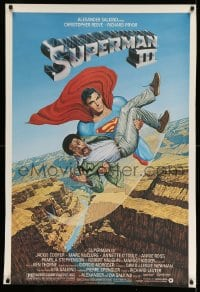 7k011 SUPERMAN III half subway 1983 art of Reeve flying with Richard Pryor by Salk!