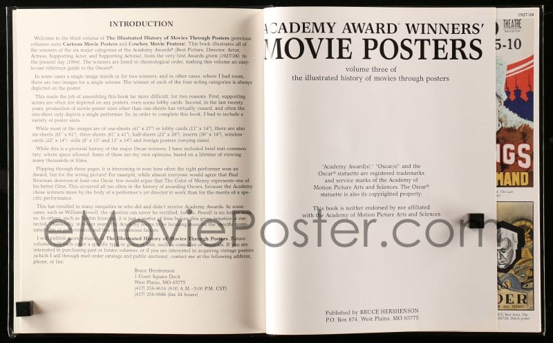 ACADEMY AWARD WINNERS/' MOVIE POSTERS BOOK BY BRUCE HERSHENSON ~ NEW NEVER OPENED