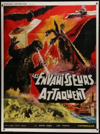7y679 DESTROY ALL MONSTERS French 1p R1970s different art with Godzilla, Ghidorah, Rodan & more!