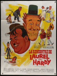 7y730 FURTHER PERILS OF LAUREL & HARDY French 1p R1970s different art of Stan & Ollie by Grinsson!