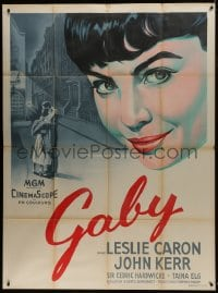7y732 GABY French 1p 1956 wonderful different close up art of pretty Leslie Caron in World War II!