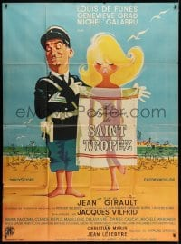 7y736 GENDARME OF ST TROPEZ French 1p R1966 Symeoni art of Louis de Funes covering sexy naked girl!
