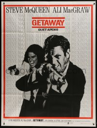 7y737 GETAWAY French 1p 1973 cool image of Steve McQueen & Ali McGraw with guns, Sam Peckinpah!