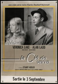 7y743 GLASS KEY advance DS French 1p R1990s different close up of Alan Ladd & sexy Veronica Lake!