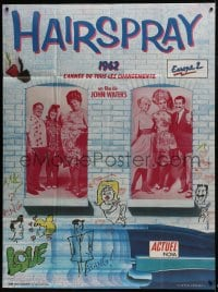 7y749 HAIRSPRAY French 1p 1988 John Waters, Ricki Lake, Divine, Sonny Bono, different Gedebe art!