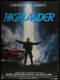 7y758 HIGHLANDER French 1p 1986 different art of immortal Christopher Lambert by Rombi!