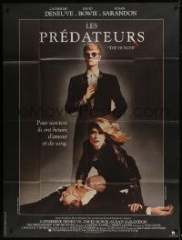 7y764 HUNGER French 1p 1983 great image of vampire Catherine Deneuve & rocker David Bowie!