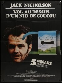 7y860 ONE FLEW OVER THE CUCKOO'S NEST French 1p R1970s different art of Nicholson, Forman classic!