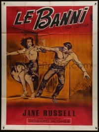 7y863 OUTLAW French 1p R1960s different art of sexy Jane Russell & Jack Buetel, Howard Hughes