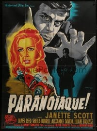 7y867 PARANOIAC French 1p 1963 Oliver Reed, completely different art by Constantine Belinsky!