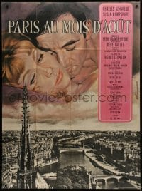 7y868 PARIS IN THE MONTH OF AUGUST French 1p 1966 Jean Mascii art of Charles Aznavour & Hampshire!