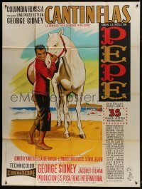 7y872 PEPE French 1p R1960s different Jean Mascii art of Cantinflas & horse on the beach!