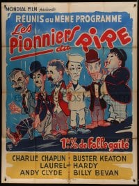 7y876 PIONEERS OF LAUGHTER French 1p 1930s art of Chaplin, Keaton, AND Laurel & Hardy together!