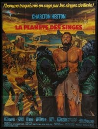 7y878 PLANET OF THE APES French 1p 1968 art of enslaved Charlton Heston by Jean Mascii!