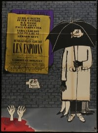 7y926 SPIES French 1p 1957 Henri-Georges Clouzot, Sine cartoon art of spy under umbrella!