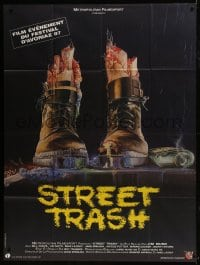 7y933 STREET TRASH French 1p 1987 completely different gruesome artwork of severed feet in boots!