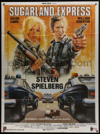 7y934 SUGARLAND EXPRESS French 1p R1980s Steven Spielberg, Goldie Hawn, cool different Sator art!