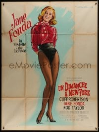 7y935 SUNDAY IN NEW YORK style B French 1p 1964 great different art of Jane Fonda by Roger Soubie!