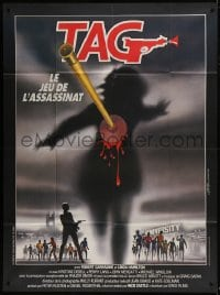 7y939 TAG: THE ASSASSINATION GAME French 1p 1983 Landi art of bloody dart hitting silhouette!