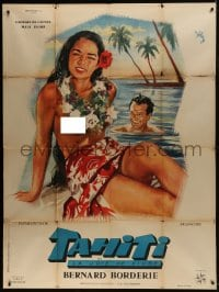 7y940 TAHITI French 1p 1957 Rinaldo Geleng art of sexy topless South Seas beauty on beach!