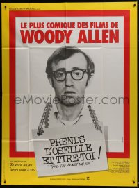 7y941 TAKE THE MONEY & RUN French 1p R1970s wacky Woody Allen mug shot in classic mockumentary!