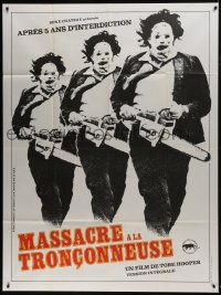 7y947 TEXAS CHAINSAW MASSACRE French 1p R1980s Tobe Hooper classic, different Leatherface image!
