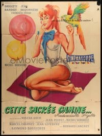 7y949 THAT NAUGHTY GIRL French 1p 1958 Hurel art of sexy Brigitte Bardot with balloons & parrot!