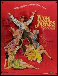 7y960 TOM JONES French 1p 1963 different art of Albert Finney & sexy girls by Georges Allard!