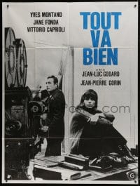 7y962 TOUT VA BIEN French 1p 1972 Yves Montand & Jane Fonda by movie camera, Jean-Luc Godard!