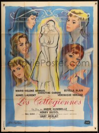 7y967 TWILIGHT GIRLS French 1p 1961 great art of Agnes Laurent & top cast + couple embracing!
