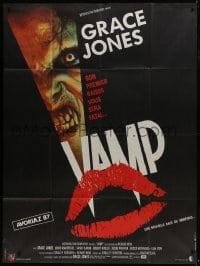 7y976 VAMP French 1p 1987 great kissing vampire lips image & close up of snarling monster!