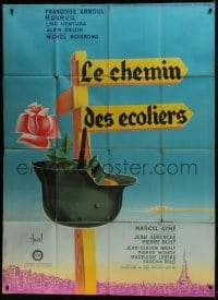 7y982 WAY OF YOUTH style B French 1p 1959 Hurel art of helmet & rose hanging from road sign!